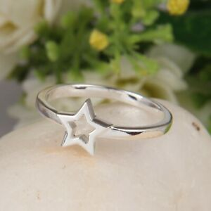 Minimalist Star Design Stack Ring 925 Sterling Silver Causal Ring Jewelry