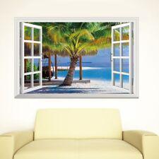 3D Window View Wall Sticker Coconut Tree Summer Beach Mural Decal Home Art Decor