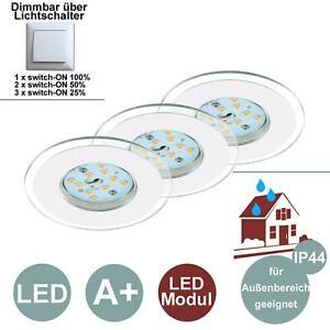 B-Kartonage Einbauleuchten Briloner LED 3er Set weiß dimmbar über Schalter Einba