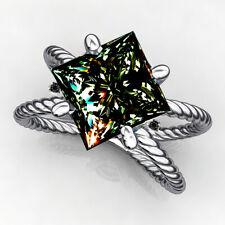 Black Diamond 925 Sterling Silver Ring 2+Ct Princess Blue Moissanite & Natural