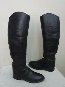 Women's Custom Handmade 6.5 USA Tall Black Leather Equestrian Riding Boots Shoes
