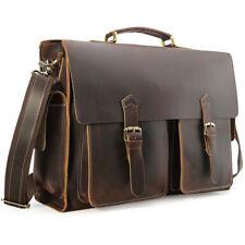 """Mens Full Grain Leather Large 17"""" Laptop Briefcase Messenger Bag Vintage Satchel"""