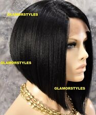 "15"" Straight Short Bob Jet Black Full Lace Front Wig Heat Ok Hair Piece #1 NWT"