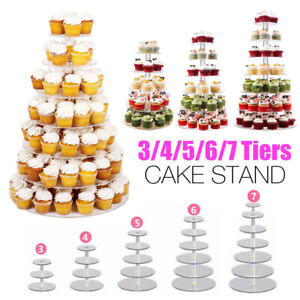 3/4/5/6/7 Tier Acrylic Clear Round Cupcake Cake Stand Birthday Wedding Party AU