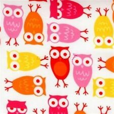 Urban Zoologie bermuda Owls 10348 pink Cotton fabric Robert Kaufman by the yard