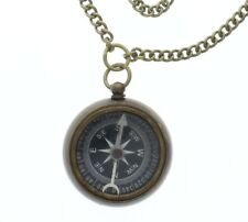 "Solid Brass Compass Pendant and Chain 24"" Necklace"