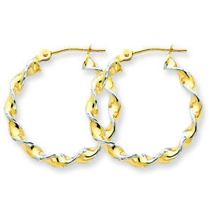 14k Yellow Gold & Rhodium Polished 2.75mm Fancy Twisted Hoop Earrings TM233