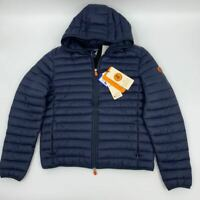 New Save the Duck mens puffer jacket hooded Sz XL navy nylon Q504