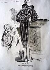 PUBLICITE 1947 MODE LES CROQUIS DE DELFAU MANTEAU JEAN PATOU