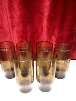 6 Beautiful Vintage Brown tumblers/Glasses Anchor hocking?????Libbey????