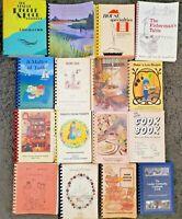 HUGE 16 SPIRAL COOKBOOKS LOT COMMUNITY LOCAL UNUSUAL COOK BOOK VTG HTF RECIPES