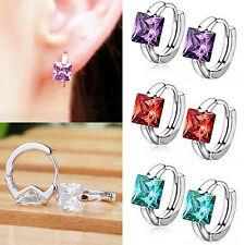 Women's Huggie Earrings Square Cubic Zirconia Stone Silver Plated Amazing Gift