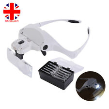 Headband Magnifier Magnifying Glass Loupe Hands Free with 2 Lights + 5 Lenses LU