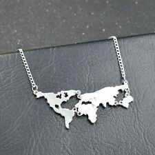 Statement Necklace Earth Jewelry Global World Map Combination Pendant Necklace