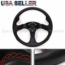 BLACK LEATHER GRIP RED STITCH USA 350MM 6-HOLE AFTERMARKET SPORT STEERING WHEEL