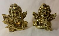 Two Beautiful Vintage Inarco E-2550 Gold Plated Angel Cherubs Japan