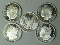 Lot of 5 Morgan Dollar Design 1/2 oz .999 Fine Silver Rounds (m.rm.tb)