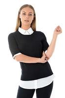 Ex George Womens Black White 3/4 Sleeve Mock Layered Shirt Jumper Office Work