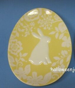 MAGENTA EASTER EGG Rabbit Bunny Oval Yellow PLATE White DAMASK Dish New M Stamp