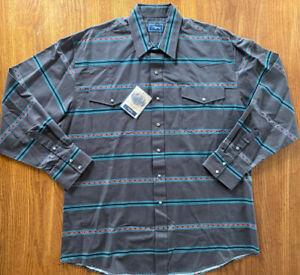 Roper Western Shirt XL Mens LS Marble Snap Brown With Black Pinstripe