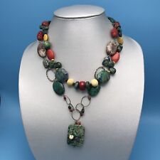 Tone Fashion Necklace Boho Orange Green Multi Strand Color Beaded Stone Silver