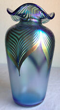Stuart Abelman Art Glass Vase 1995 Pulled Feather Purple Green Signed Dated 7""