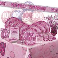 AGE 100/100TH BIRTHDAY PINK GLITZ PARTY RANGE (Balloon/Decoration/Banner)