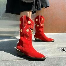 Fashion Women's Pointy Toe Zipper Block Heels Leopard Ankle Boots Shoes Sz dap