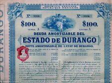 Republica Mexicana - 5% ESTADO de DURANGO, 1910 (100 $) uncancelled + Coupons
