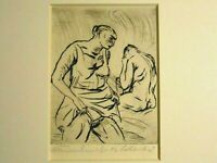 """PAUL KLEINSCHMIDT ARTIST PENCIL SIGNED OF ETCHING OF COUPLE TITLED """"BATHERS"""""""