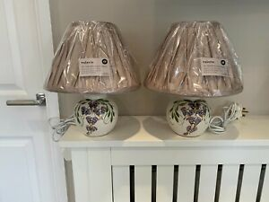 Pair of Beautiful Used Handpainted Wisteria Lamp Bases +Brand New Pleated Shades