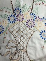 """Vintage White Hand Embroidery Flower Basket Ribbon Buttonhole 76x50"""" Tablecloth"""