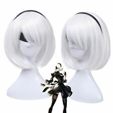NieR Automata 2B YoRHa No. 2 Short Straight White Cosplay Wig Bob Hair Wigs