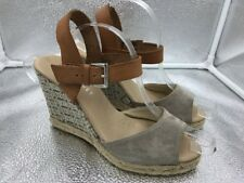 Mint Velvet Sz 6 39 Brown Suede & Leather Rope Wedge Sandals Womens