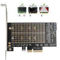 M.2 NGFF to Computer SATA Dual SSD PCI PCIe x4 x8 x16 NVMe Express Adapter Card