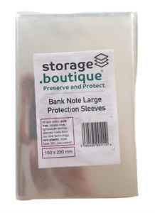 storage.boutique Old Bank Note Protection Sleeves Large Acid Free, 50,150x230mm
