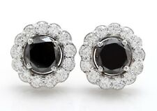 7.40 Quilate Natural Diamante Negro & en 14K Macizo Blanco Pendientes de Oro