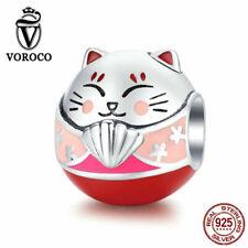 VOROCO 925 Sterling Silver Charms Beads Maneki Neko Enamel DIY Jewelry