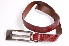 Stunning  Ladies Dark Red Snake Skin Pattern Skinny Belt w Large Buckle (S341)