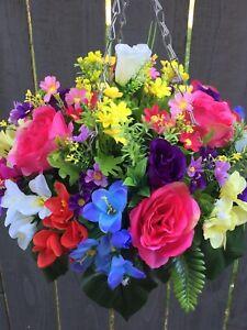 New Multi Roses Artifical Flower Hanging Basket Ready To Hang Garden