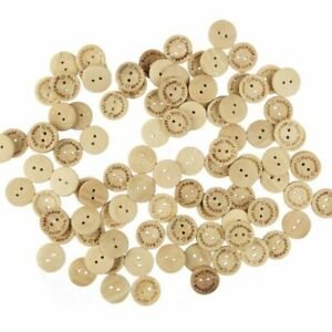 100pcs Hand Made with Love Sewing Wood Buttons 15mm Round Decorative Button UK