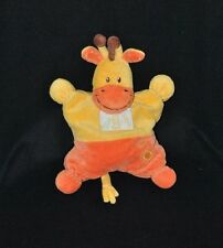 Peluche doudou girafe semi plat jaune orange KIABI NICOTOY Ma ptite tribu TTBE