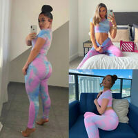 Women's Tracksuit Sweatsuit Sports Suit Tops Shirt + Leggings Yoga Pants Set US