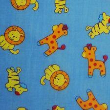Blue Polycotton Fabric with Baby Zoo Safari Animals * Per metre