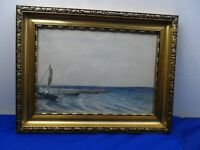 Vintage Framed Watercolour of Sailing Boats by the Sea Shore