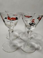 Vintage Libbey Down on the Farm cocktail wine martini glasses set of 4 red black