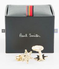 "$125 Paul Smith Men's ""SHERIFF"" Badge Gold Cufflinks"