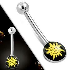Mini Bauchnabelpiercing Nabel Stecker Für Tag & Nacht All Day Piercing Sonne