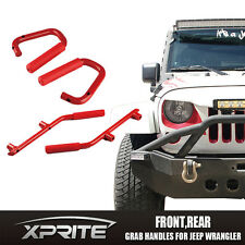 Xprite Grab Bar Rear & Front Grab Steel Handles RED 07-17 Jeep Wrangler 4 Door