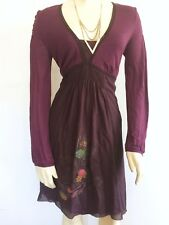 NWT Muchacha solid purple embroidered girl/face lagenlook dress L large $159
